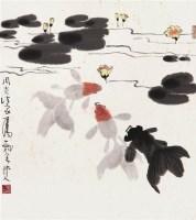 金鱼 带框 设色纸本 - 116163 - 中国书画专场 - 2008第三季艺术品拍卖会 -收藏网