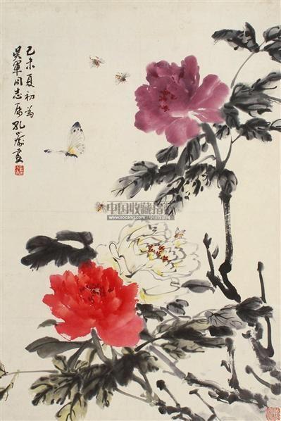 花卉 立轴 设色纸本 - 122234 - 中国书画 - 2011年夏季艺术品拍卖会 -收藏网