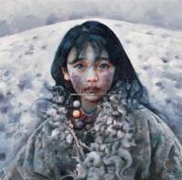 少女 布面 油画 - 艾轩 - 中国油画 雕塑影像 - 2006广州冬季拍卖会 -收藏网
