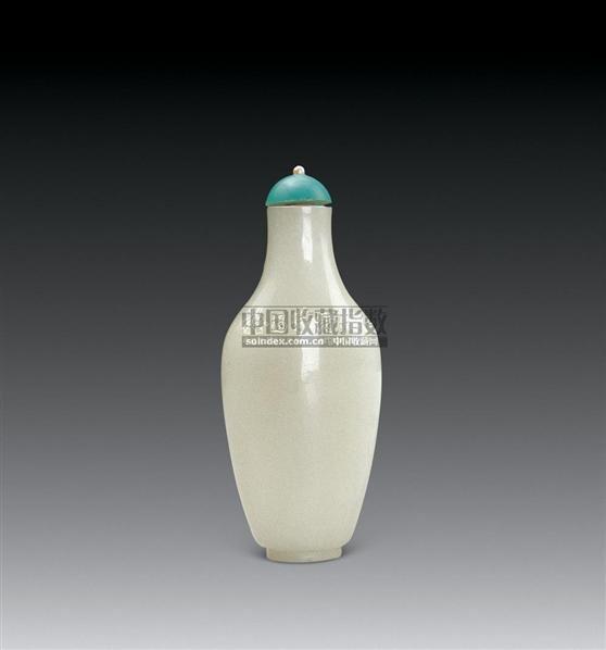 清白玉鼻烟壶(配松绿石盖) -  - 中国玉器专场 - 2008首届秋季大型古玩书画拍卖会 -收藏网