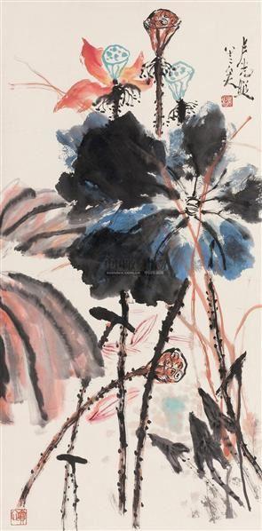 夏荷 立轴 设色纸本 - 137281 - 中国书画 - 2006秋季拍卖会 -收藏网