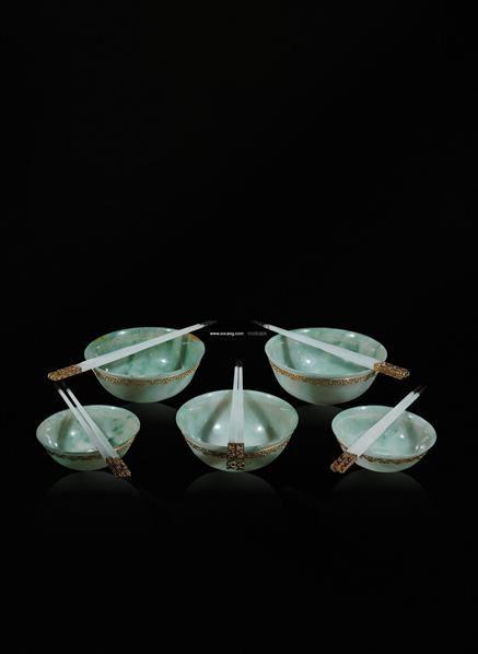 金饭碗 (十件套) -  - 翡翠、名石、文玩杂件、紫砂、书画 - 2011年秋季艺术品拍卖会 -收藏网