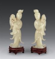 十九世纪 黄玉仕女 (一对) -  - 古董珍玩(二) - 2006秋季艺术珍品拍卖会 -收藏网
