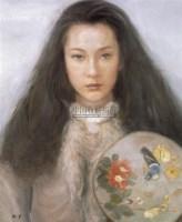 持团扇的少女 布面油彩 - 127570 - 中国油画(一) - 2006年中国艺术品春季拍卖会 -收藏网