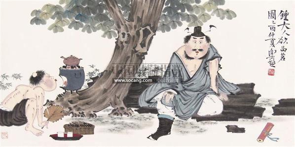 钟大人欲品茗图 镜心 设色纸本-徐乐乐-中国书画-2011