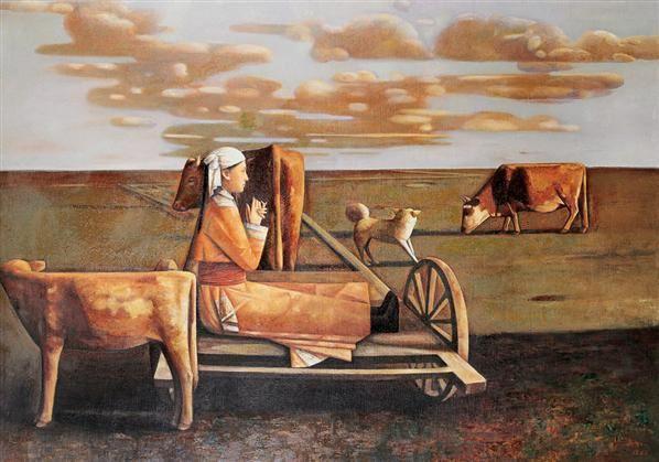高虹 1992年作 蒙古·秋 布面 油画 - 156593 - 油画 - 2006年金秋珍品拍卖会 -收藏网