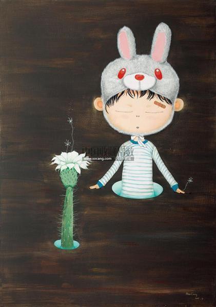 兔角小孩 布面油画