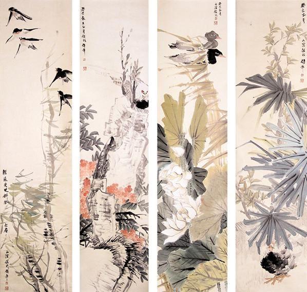 任伯年花鸟四屏 -  - 书画 - 2008迎春书画艺术精品拍卖会 -收藏网
