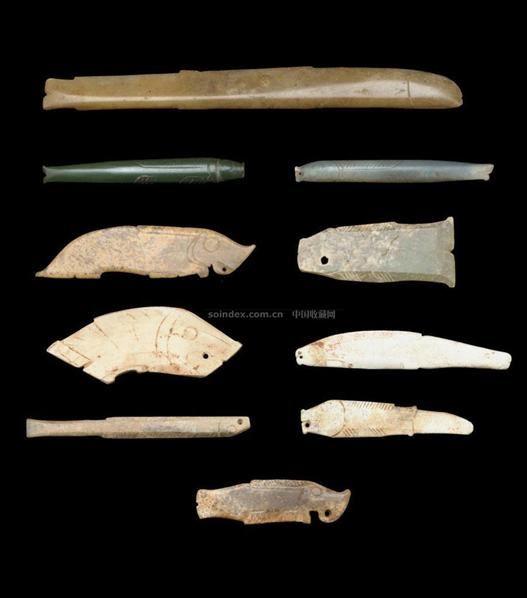 TEN EARLY JADE FISH PEDAANTS,SHANG/WESTERN SHOU DYNASTY (1600-771BC) -  - 中国进出口瓷器 - 2009秋季拍卖会(二) -收藏网