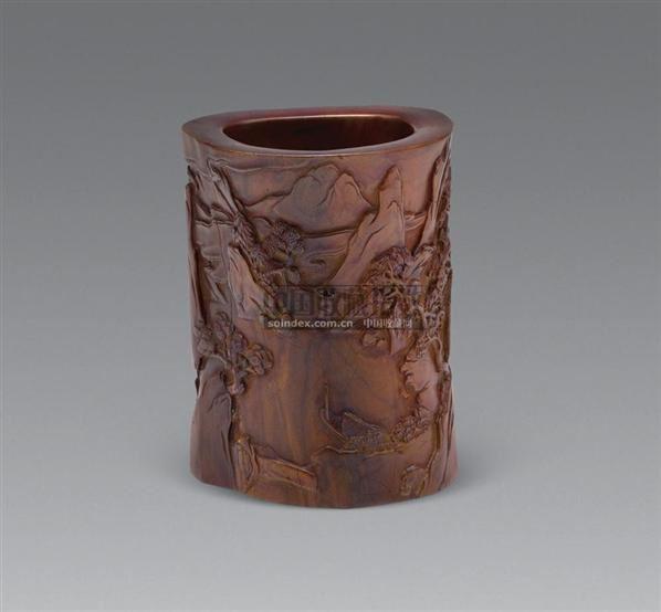 木雕山水人物笔筒--海上旧梦(叁)-2009年秋季大型