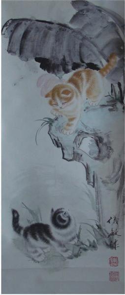 陳儀敏  雙貓圖 -  - 中国书画 - 2008春季艺术品 -中国收藏网