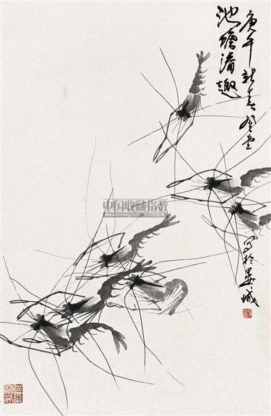 虾 立轴 水墨纸本 - 129692 - 中国书画 - 2005年艺术品拍卖会 -收藏网