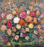 插花 布面 油画 -  - 油画、雕塑、版画暨广东油画、水彩 - 2006冬季拍卖会 -收藏网