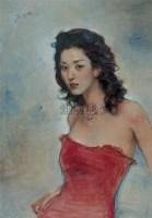 红衣少女 纸本丙烯 - 庞茂琨 - 当代与唯美 中国油画雕塑 - 2008春季大型艺术品拍卖会 -收藏网