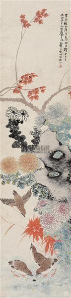 花鸟 立轴 设色纸本 - 149145 - 岭南名家书画 - 2011秋季艺术品拍卖会 -收藏网