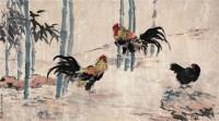 斗鸡图 设色纸本 - 116101 - 书画 - 2012新年艺术品拍卖会 -收藏网