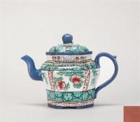 陈宽益款 加彩六方壶 -  - 中国当代高端工艺品 - 2011年春季拍卖会 -收藏网