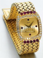PIAGET, A LADY'S GOLD, DIAMOND AND RUBY SET BRACELET WATCH CIRCA 1990, -  - 钟表 - 2007年秋季拍卖会 -收藏网