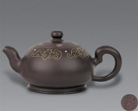 现代 紫砂嵌金丝五蝠捧寿壶 -  - 中国书画紫砂茗壶 - 2006年秋季拍卖会 -中国收藏网