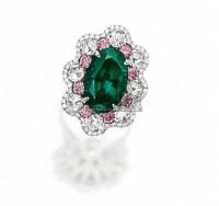 """天然""""巴西""""亚历山大变色石配浓彩紫粉红钻石及钻石戒指 -  - 珠宝翡翠 - 2010年春季拍卖会 -收藏网"""