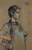 庞茂琨 彝族少女侧面 纸本色粉 - 4655 - 中国油画 - 2006秋季艺术品拍卖会 -收藏网