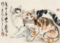 双猫 镜心 设色纸本 - 7693 - 长安画派 · 经典永恒 - 2011年秋季拍卖会 -中国收藏网