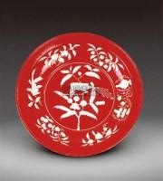 红釉留白折枝果绶带鸟纹盘 -  - 瓷器 - 2011中博香港大型艺术品拍卖会 -收藏网