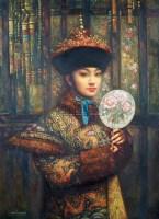 执扇的皇后 镜框 布面油画 - 邸立丰 - 中国书画珍品选萃 - 2007年春季拍卖会 -收藏网