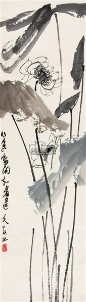 荷花 立轴 设色纸本 - 118346 - 中国书画 - 第117期月末拍卖会 -收藏网