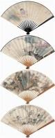 仕女 山水图 (四把) 成扇 设色纸本 -  - 扇里乾坤-中国成扇专场 - 2008首届秋季大型古玩书画拍卖会 -收藏网