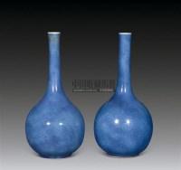 清康熙 洒蓝釉长颈瓶 (一对) -  - 古董文玩 - 第68期拍卖会 -收藏网