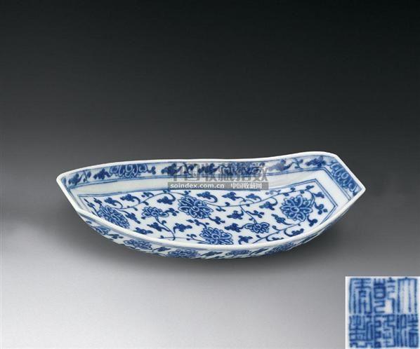 青花�:a�9���i�y�_青花缠枝花纹茶床 - - 古董珍玩i - 2007秋季拍卖会 -中国收藏网