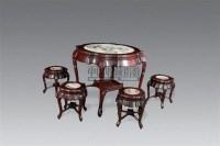 红木镶云石子母桌一套(一桌四凳) -  - 中国古董家具及书画 - 2011年春季拍卖 -收藏网