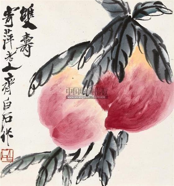 双寿 镜心 设色纸本 - 116087 - 亦孚藏品书画专场 - 2011春季艺术品拍卖会 -收藏网