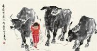 放牛图 镜片 设色纸本 - 123380 - 江平楼藏画专场 - 2011秋季艺术品拍卖会 -收藏网