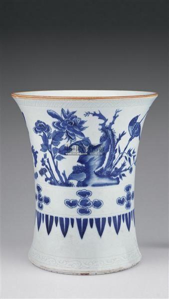顺治青花花鸟纹笔筒 -  - 瓷器 玉器 杂项 - 2006年夏季拍卖会 -收藏网