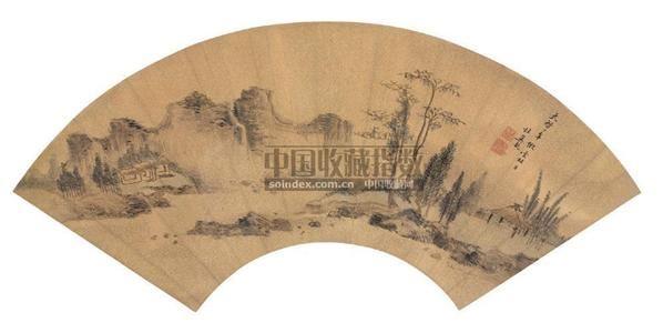杜冀龙 1622年作 疏林幽居 扇面 -  - 中国古代书画 - 2006秋季拍卖会 -收藏网