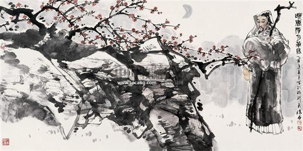 黄昏赏梅图 镜心 设色纸本 - 127458 - 中国当代书画 - 2007年秋季拍卖会 -收藏网