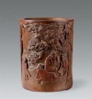 清 竹雕松下高仕图笔筒 -  - 瓷器 玉器 书画 杂项 - 2007年秋季拍卖会 -收藏网