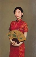 持折扇的红衣少女 布面油彩 -  - 中国油画(一) - 2006年中国艺术品春季拍卖会 -收藏网