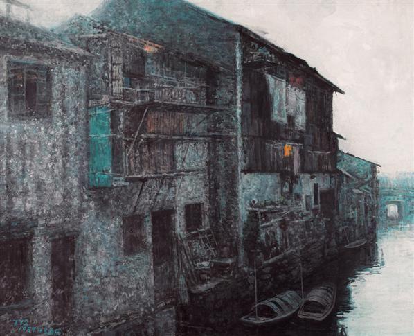 王路 水上人家 油画 - 21068 - 油画专场 - 2006首届艺术品拍卖会 -收藏网
