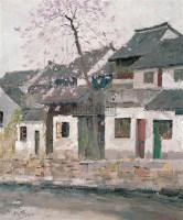 民居 布面油画 - 钱流 - 当代与唯美 中国油画雕塑 - 2008春季大型艺术品拍卖会 -收藏网
