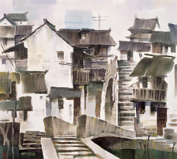 林紹靈 美麗的老房子之一 紙面水彩 - 2110 - 中國當代油畫與水彩畫