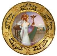 """维也纳风格 彩绘陶盘""""窗边的淑女"""" -  - 装饰美术 - 2011秋季伊斯特香港拍卖会 -收藏网"""