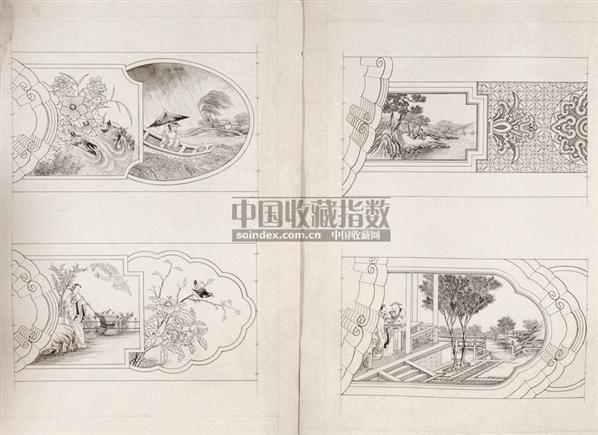 中国古建筑彩绘图稿