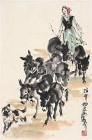 牧驴 镜心 设色纸本 - 7693 - 中国书画(二) - 2006年秋季拍卖会 -收藏网