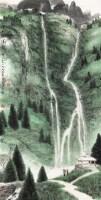 深山观瀑图 立轴 设色纸本 - 118576 - 中国书画(一)当代专场 - 2011秋季艺术品拍卖会书画专场 -收藏网