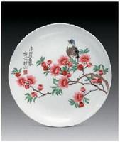 """""""水点桃花""""盘 - 158191 - 中国当代名家陶瓷 - 2007秋季拍卖会 -收藏网"""