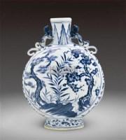 青花松竹梅双耳扁瓶 -  - 瓷器 - 2011中博香港大型艺术品拍卖会 -收藏网