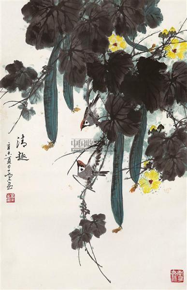 清趣 立轴 设色纸本 - 2724 - 中国书画(一) - 2011年夏季拍卖会 -收藏网